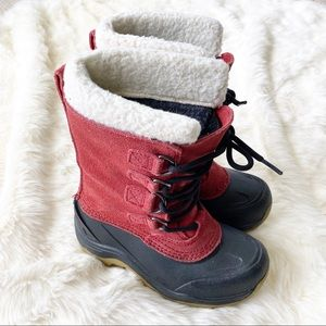Lands End red leather suede duck winter boots